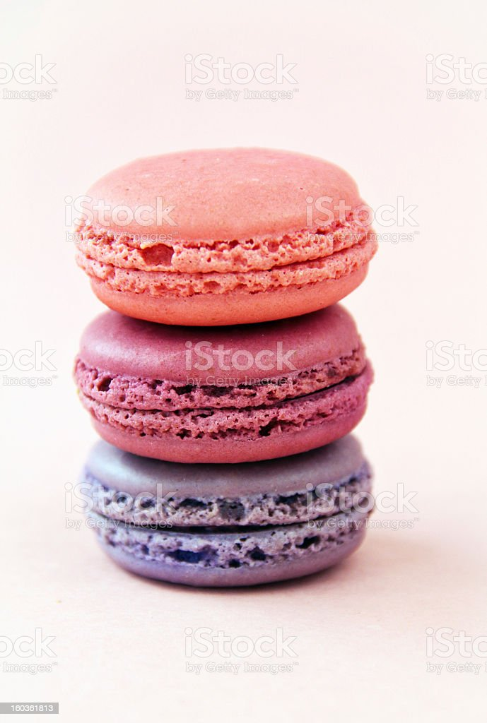 Pretty Pink and Purple Macarons royalty-free stock photo