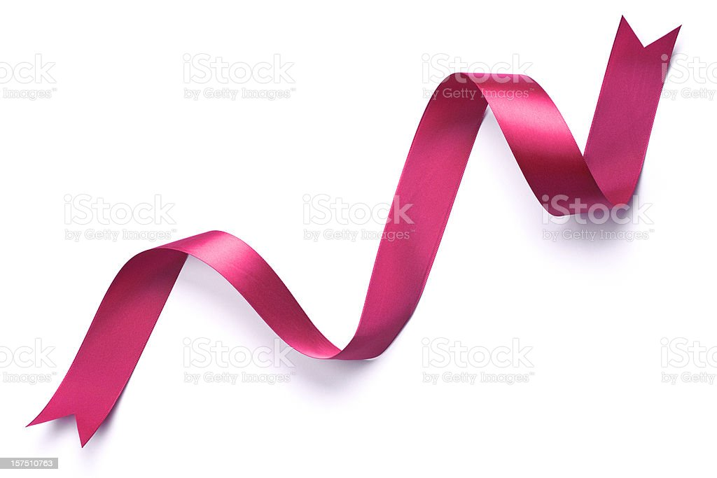 Pretty Pink Curly Ribbon, Fancy Ends, on Pure White Background stock photo