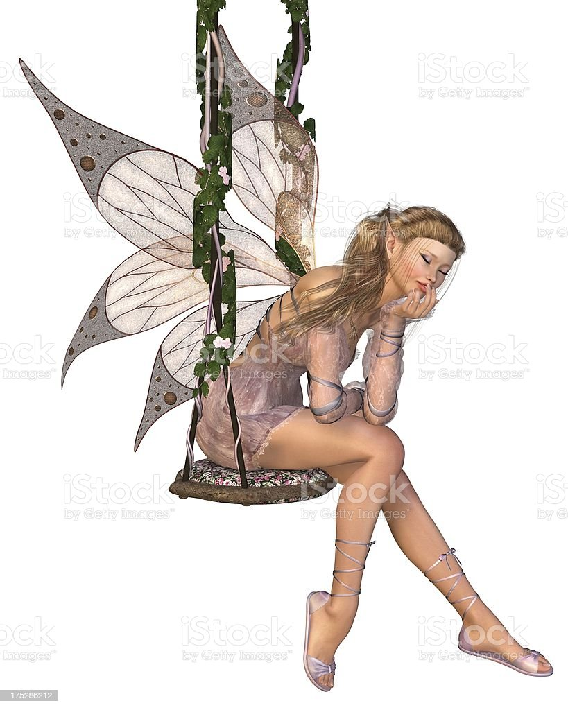 Pretty Pink Fairy Daydreaming on a Swing royalty-free stock photo