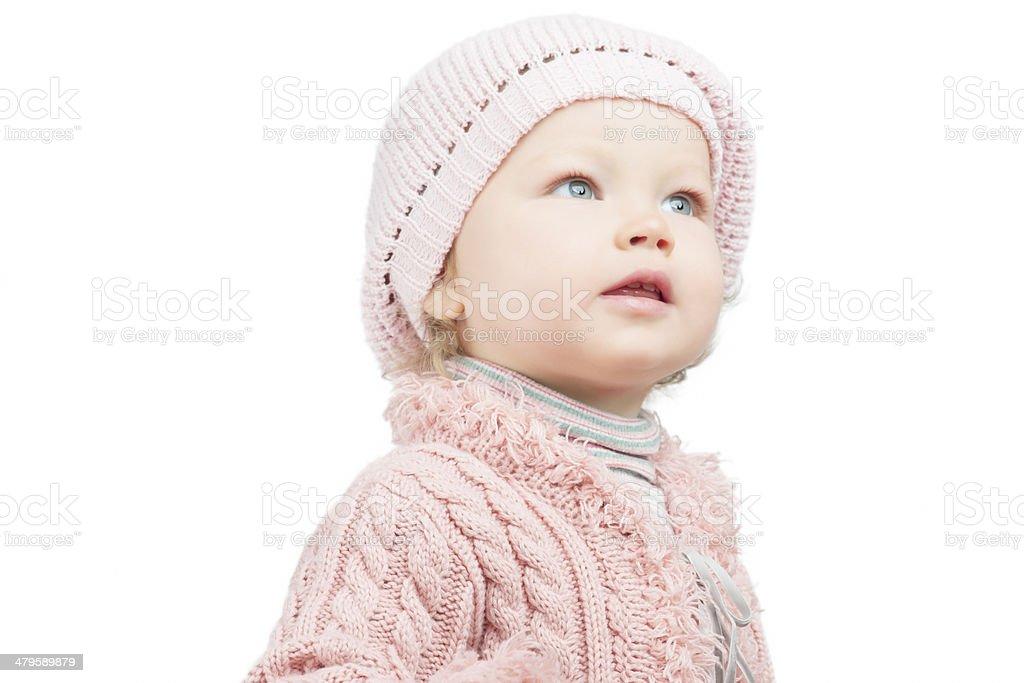 Pretty portrait of caucasian toddler girl stock photo