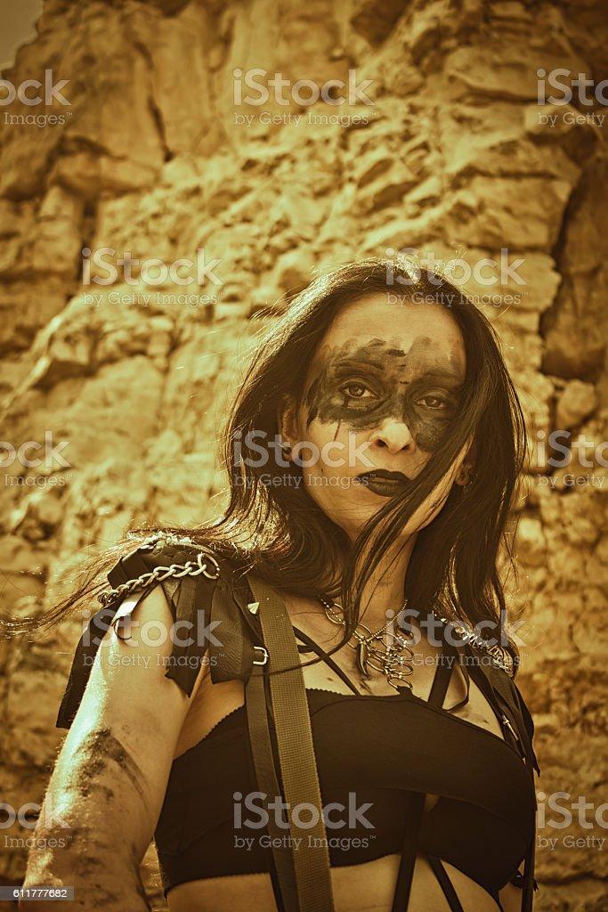 Pretty post-apocalyptic raider stock photo