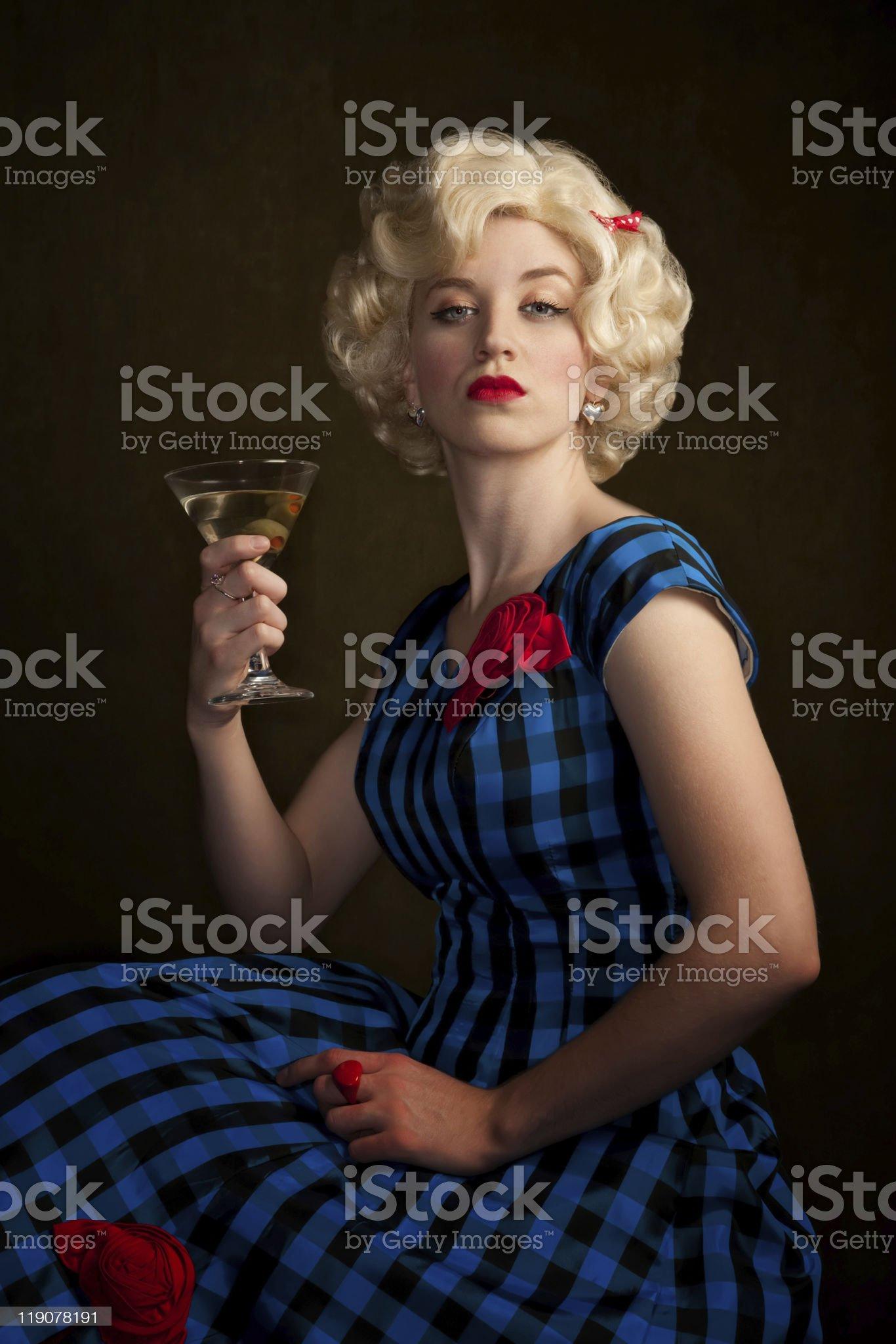 Pretty Retro Blonde Woman with Martini royalty-free stock photo