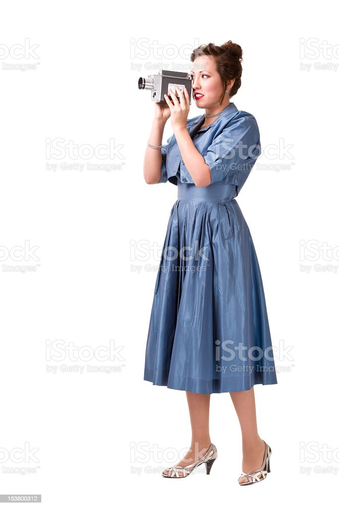 Pretty Retro Girl with Antique Movie Camera royalty-free stock photo