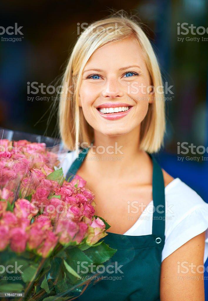 Pretty roses for a pretty girl stock photo