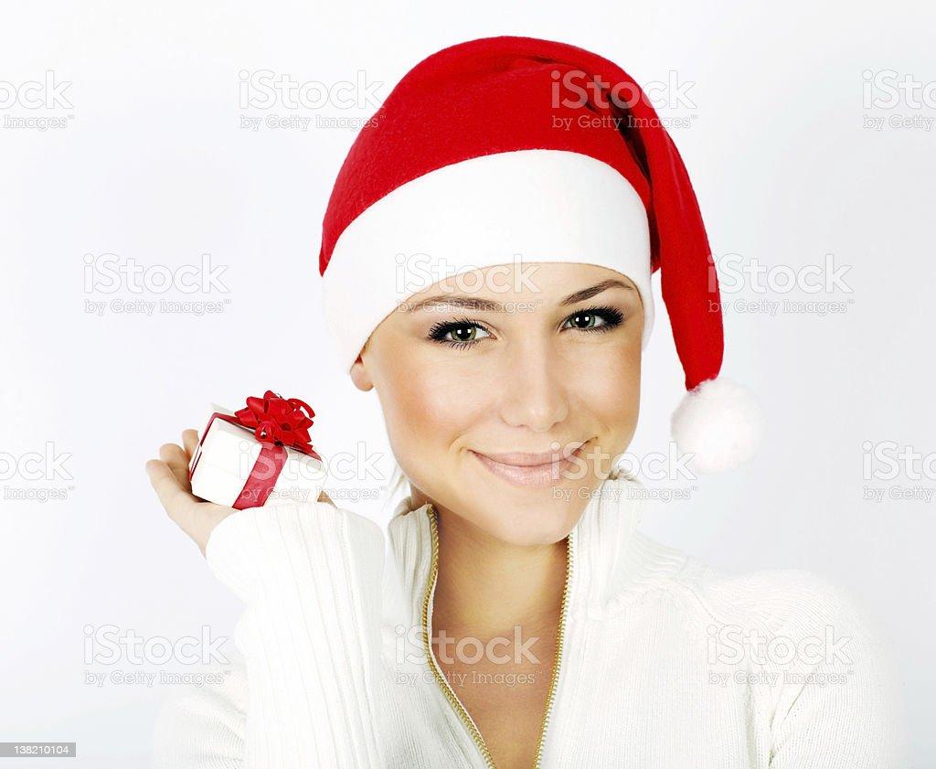 Pretty Santa girl closeup portrait royalty-free stock photo