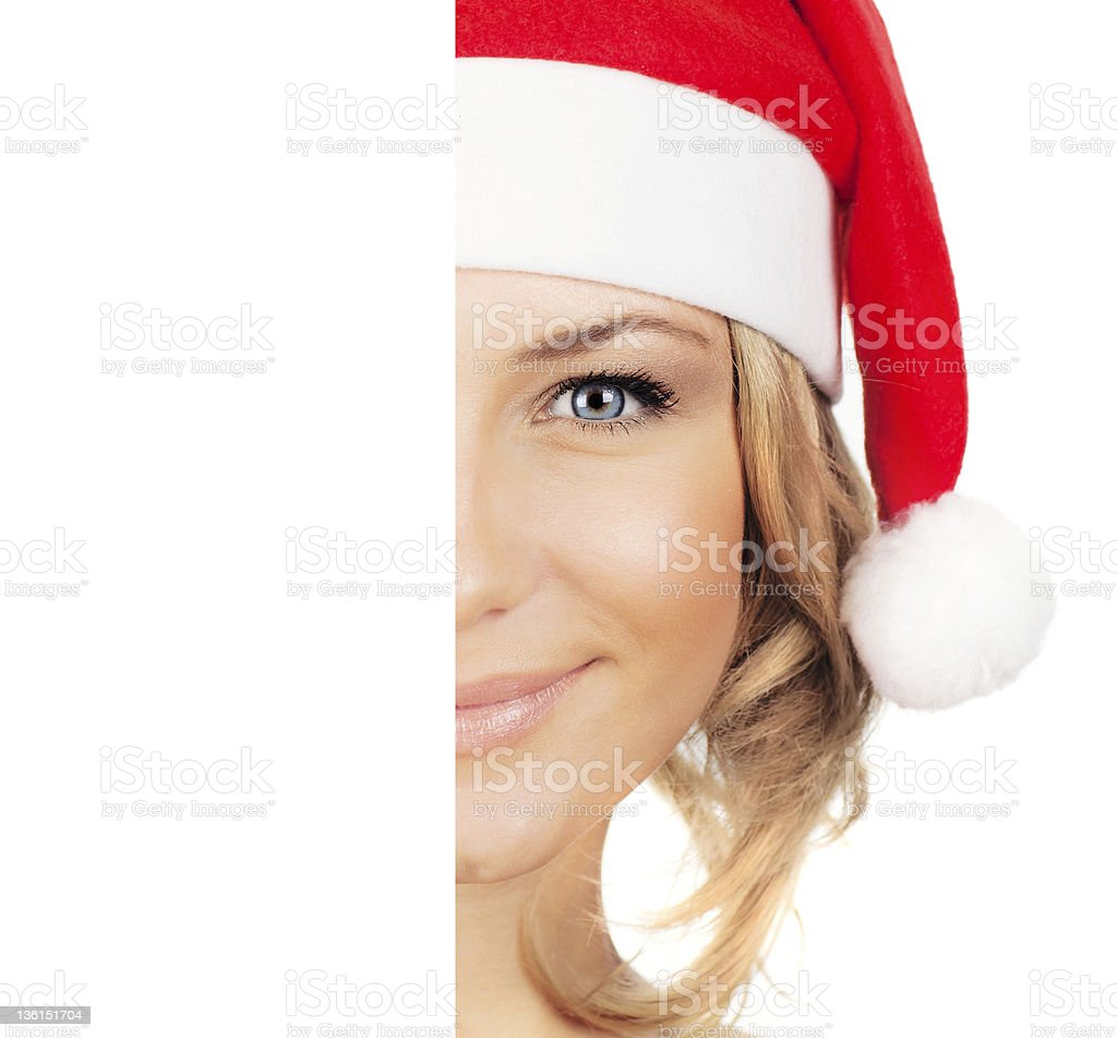 Pretty Santa girl with copy space royalty-free stock photo