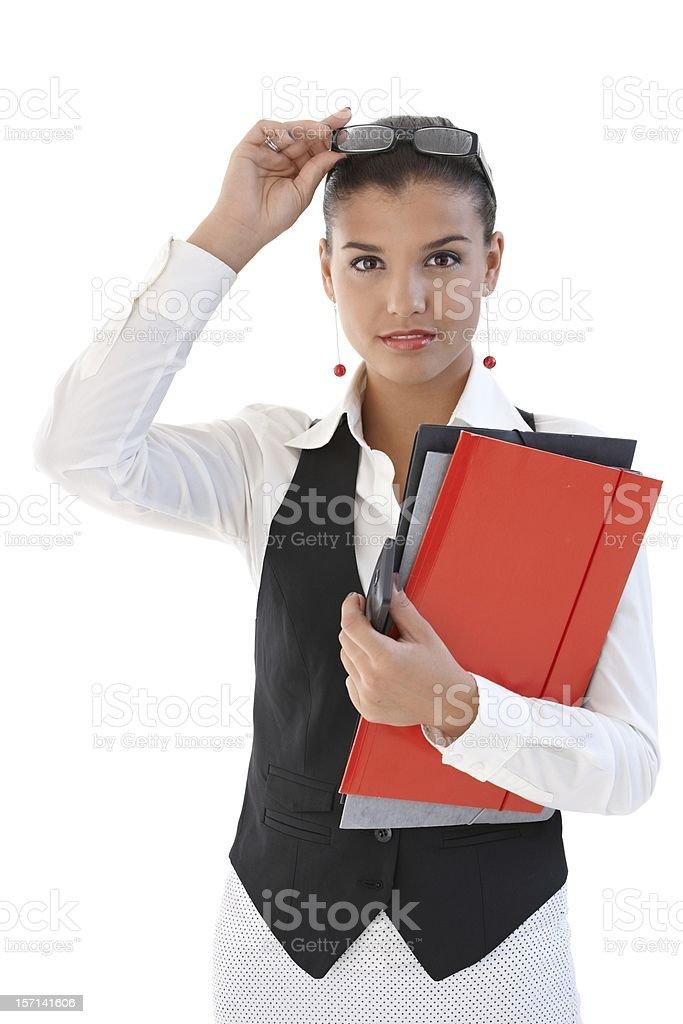 Pretty secretary with folders royalty-free stock photo