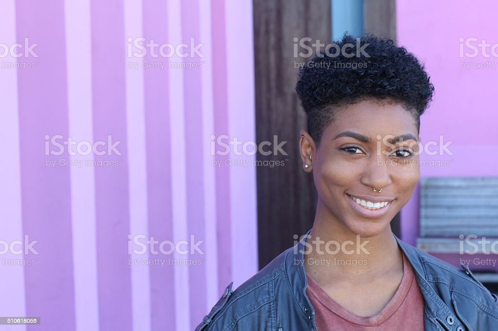 Pretty short hair girl with gray jacket. stock photo