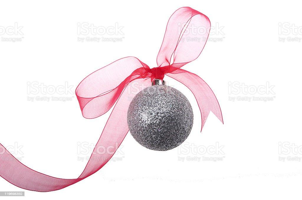 Pretty silver Christmas Ornament stock photo