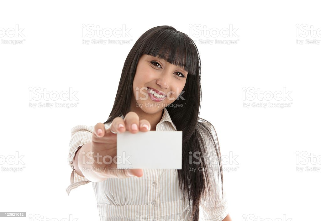Pretty smiling woman with business or id card stock photo