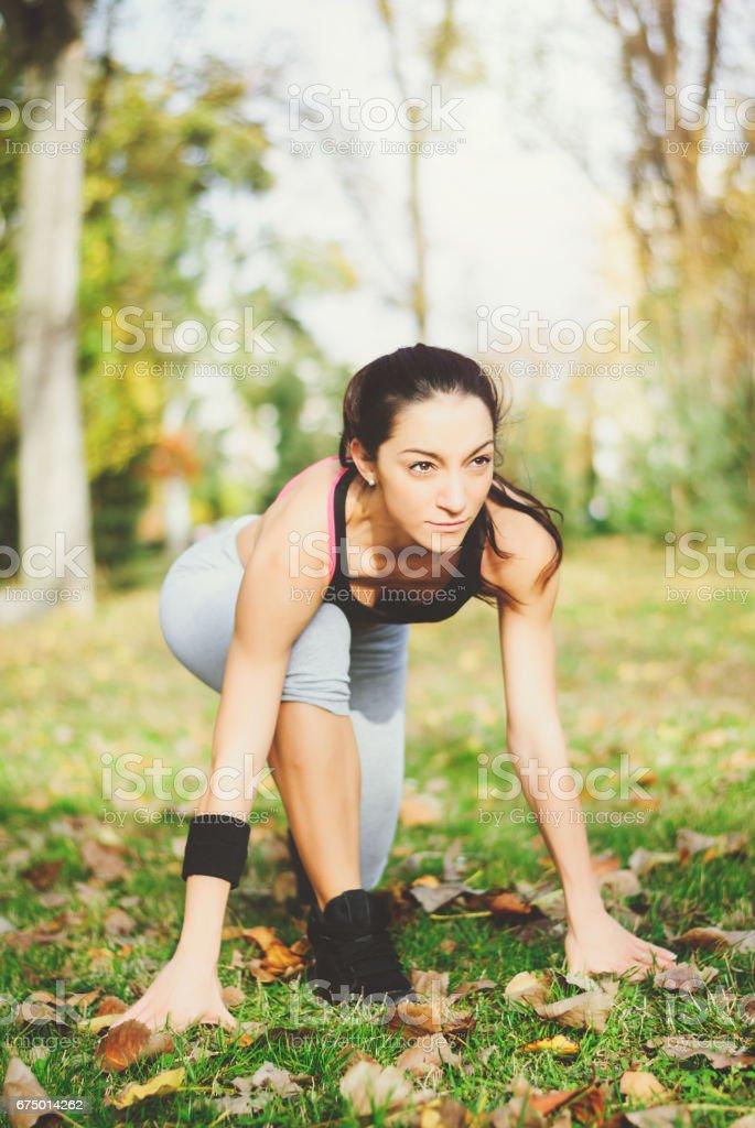Pretty sporty woman stock photo