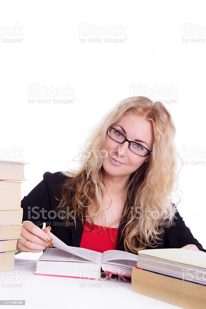 Pretty student girl with pile of books isolated royalty-free stock photo