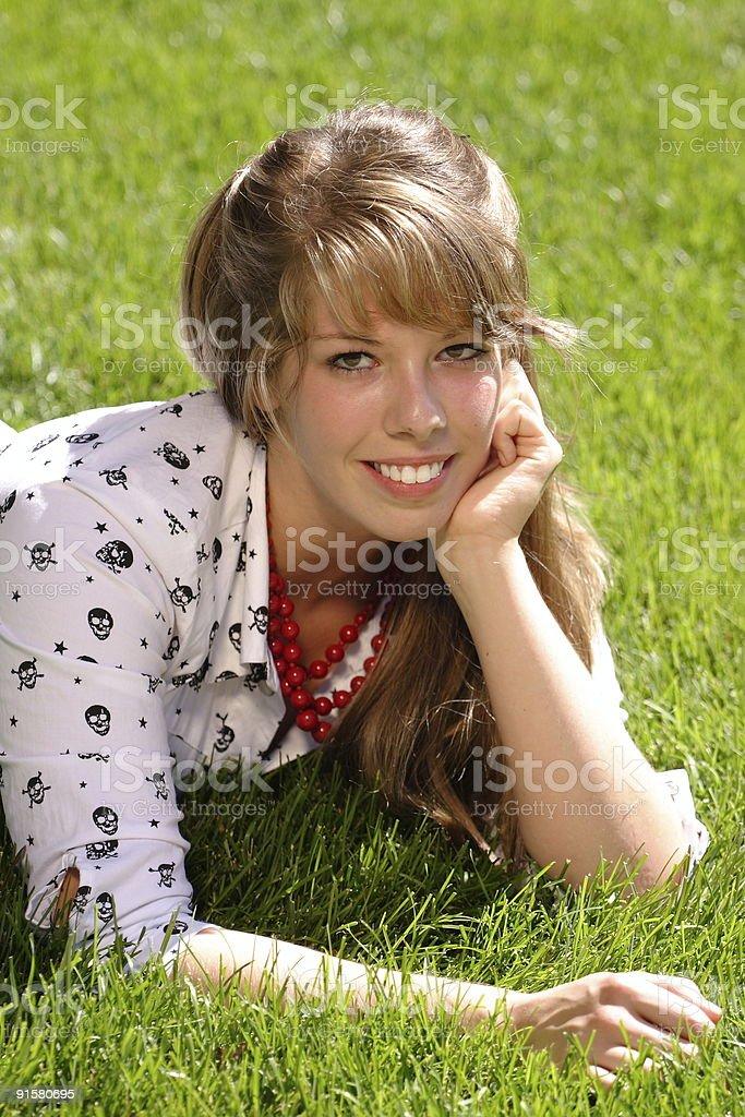 Pretty Teen In Grass stock photo