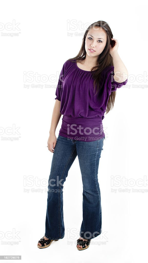 Pretty teen posing for the camera royalty-free stock photo