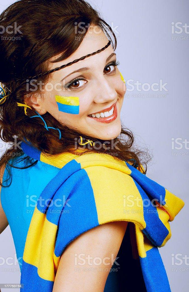 Pretty teenage soccer fan royalty-free stock photo