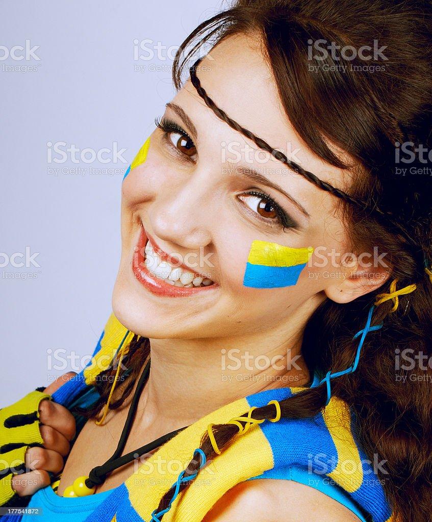 Pretty teenage soccer football fan royalty-free stock photo