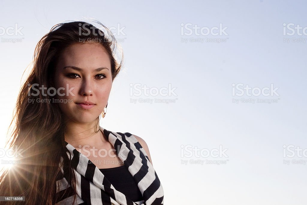Pretty teenager with sunlight royalty-free stock photo