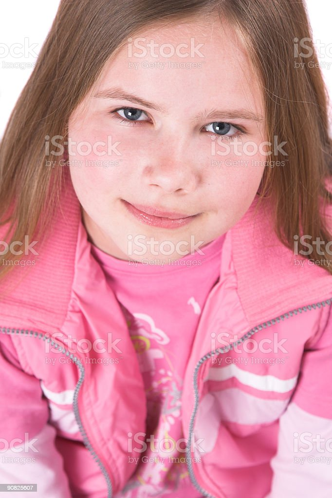 Pretty ten year old blond girl looking up royalty-free stock photo
