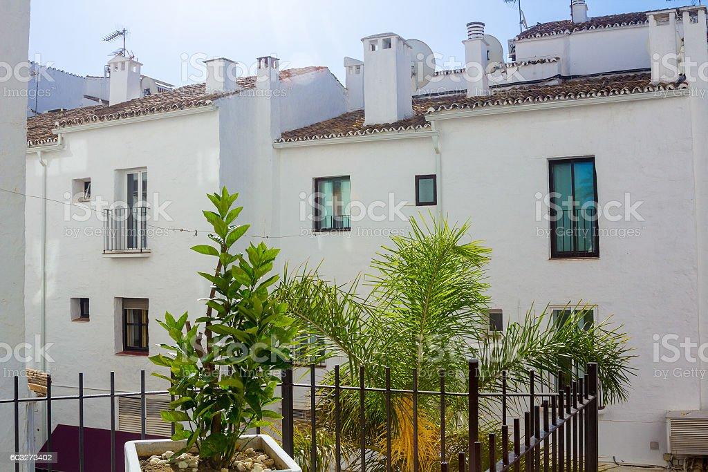 Pretty typical white houses Puerto Banus, Malaga Spain stock photo