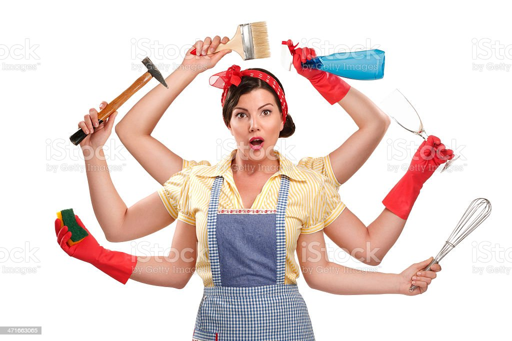 pretty very busy multitasking housewife  on white stock photo