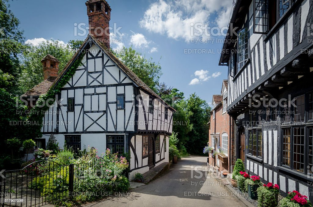 Pretty Village Street stock photo