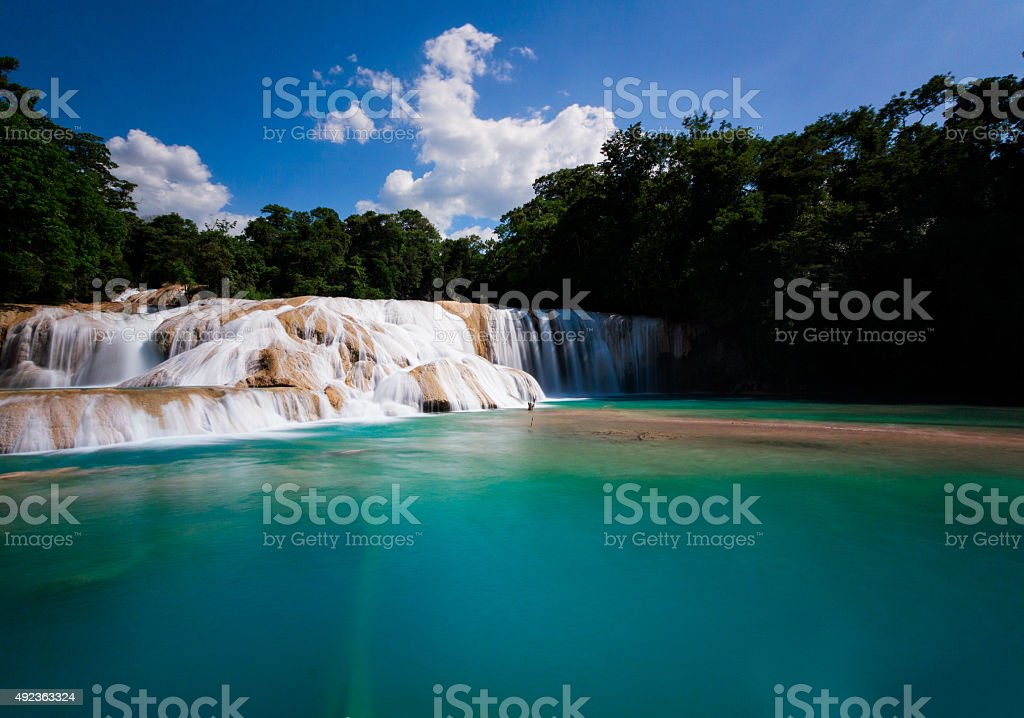 Pretty water falls at Agua Azul stock photo