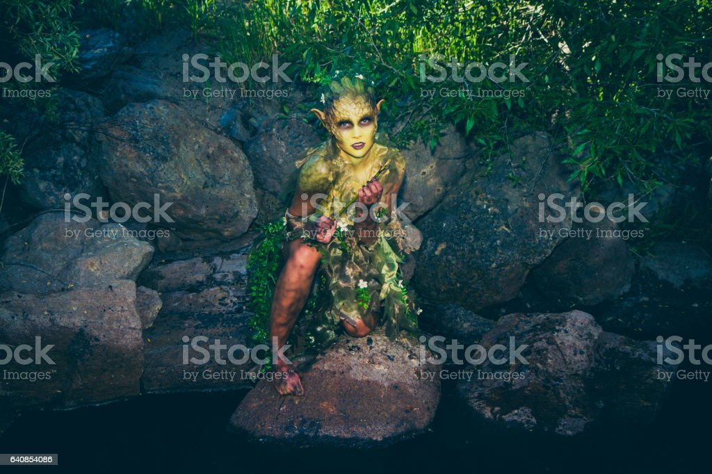 Pretty Water Nymph Fantasy Creature Near a Creek stock photo