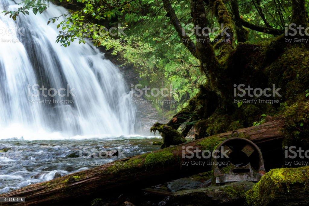 Pretty waterfall in Alaska stock photo