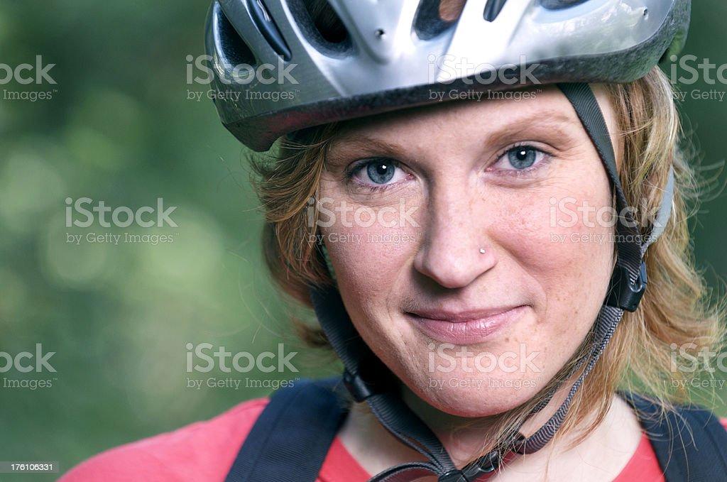 Pretty Woman Bicyclist Up Close stock photo