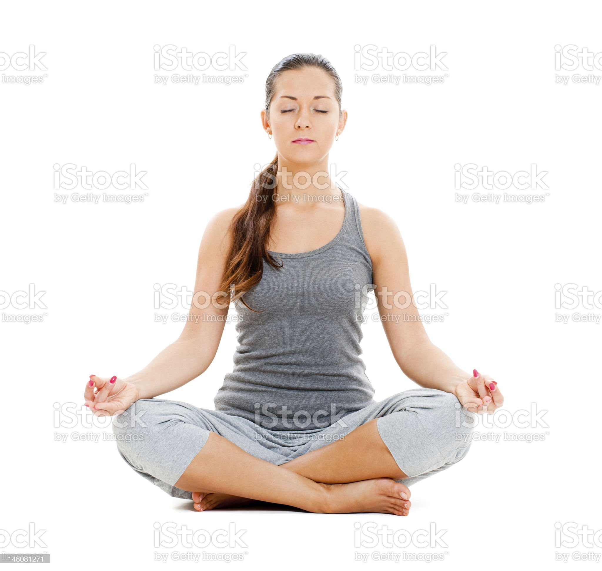 pretty woman doing yoga exercise royalty-free stock photo