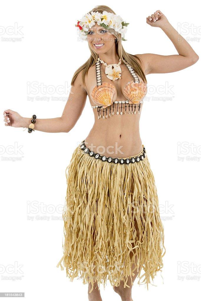 Pretty woman dressed in Hawaiian costume royalty-free stock photo
