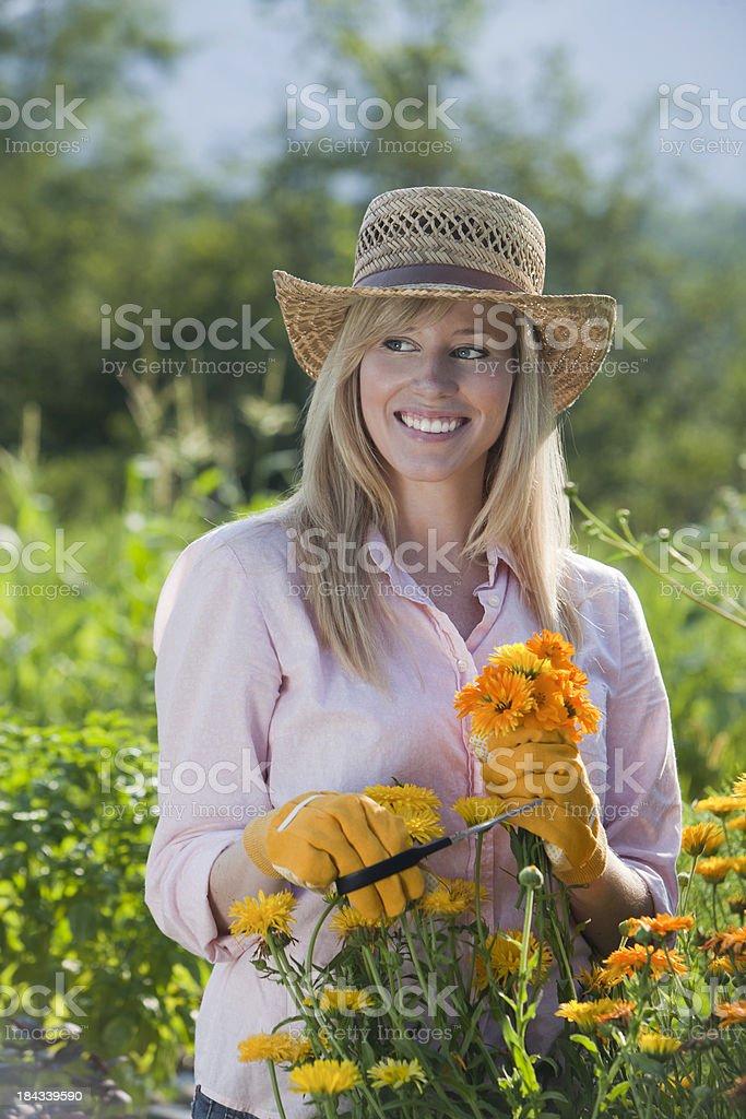 Pretty Woman Gardening royalty-free stock photo