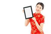 pretty woman holding digital tablet pad
