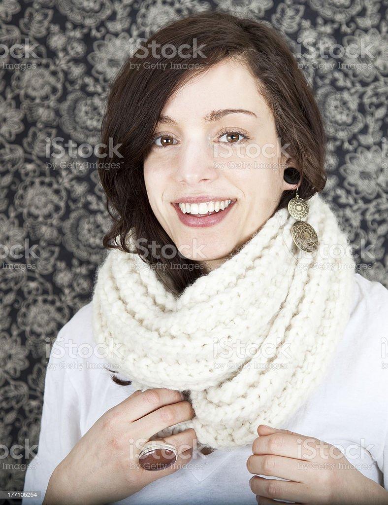 Pretty woman in a handmade merino wool scarf stock photo