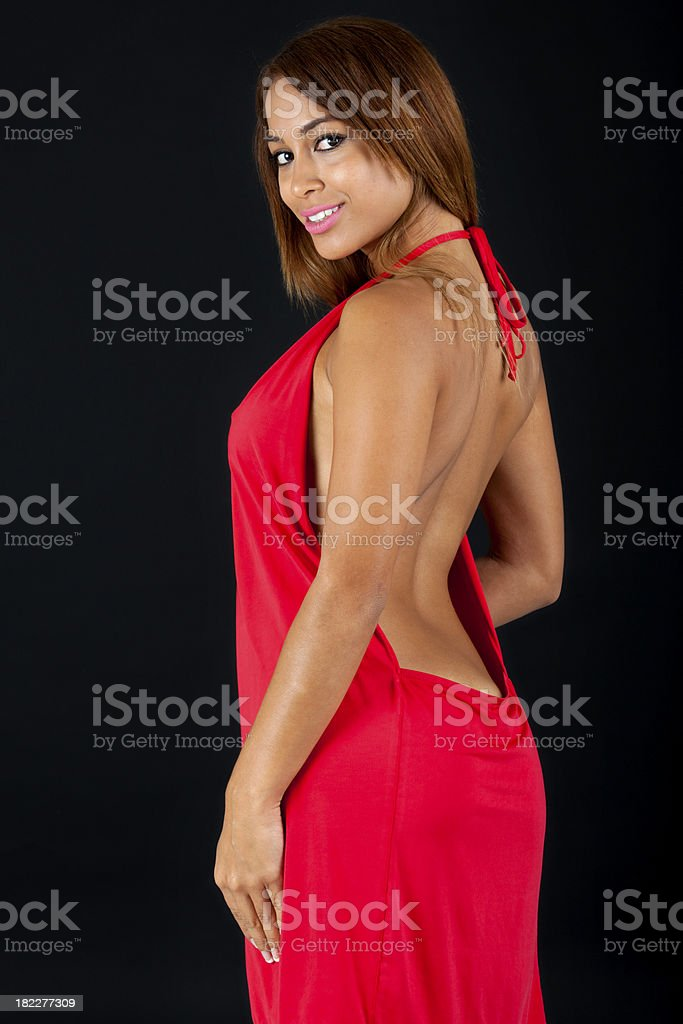 Pretty Woman in a Sexy Low Cut Dress stock photo