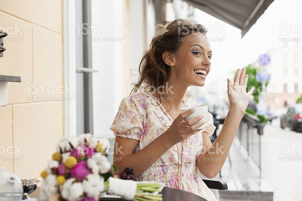 pretty woman in cafe royalty-free stock photo