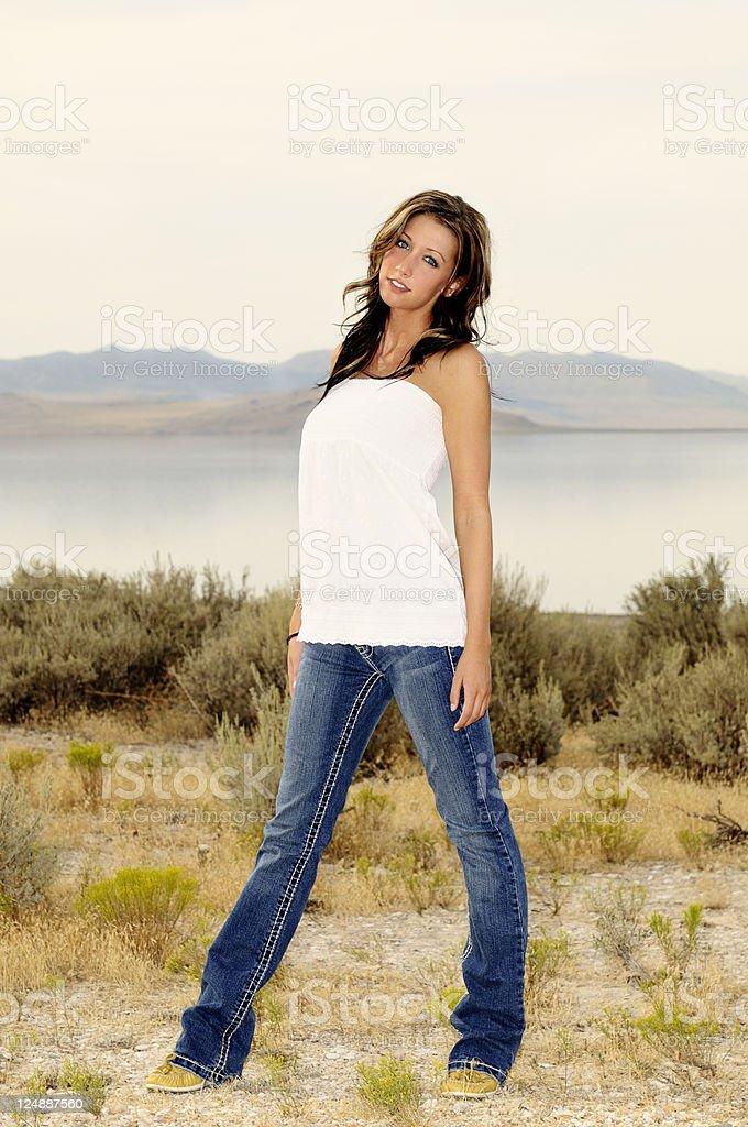Pretty Woman In Casual Attire - Wilderness Setting stock photo