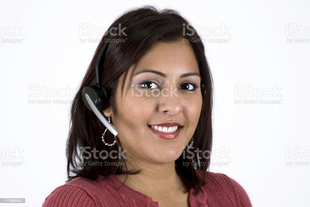 Pretty (Hispanic) Woman in Customer Service royalty-free stock photo