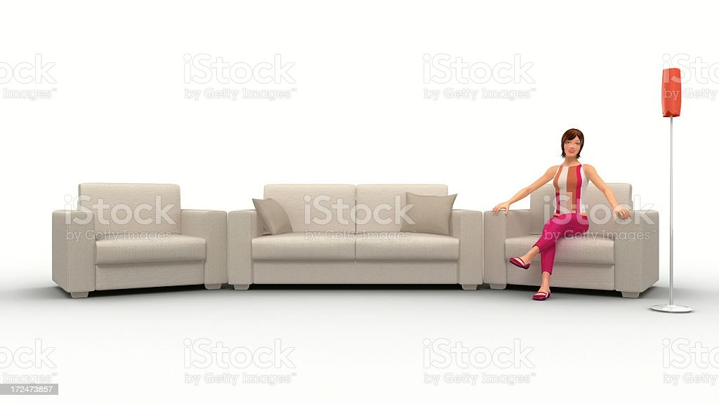 Pretty Woman In Her Living Room royalty-free stock photo