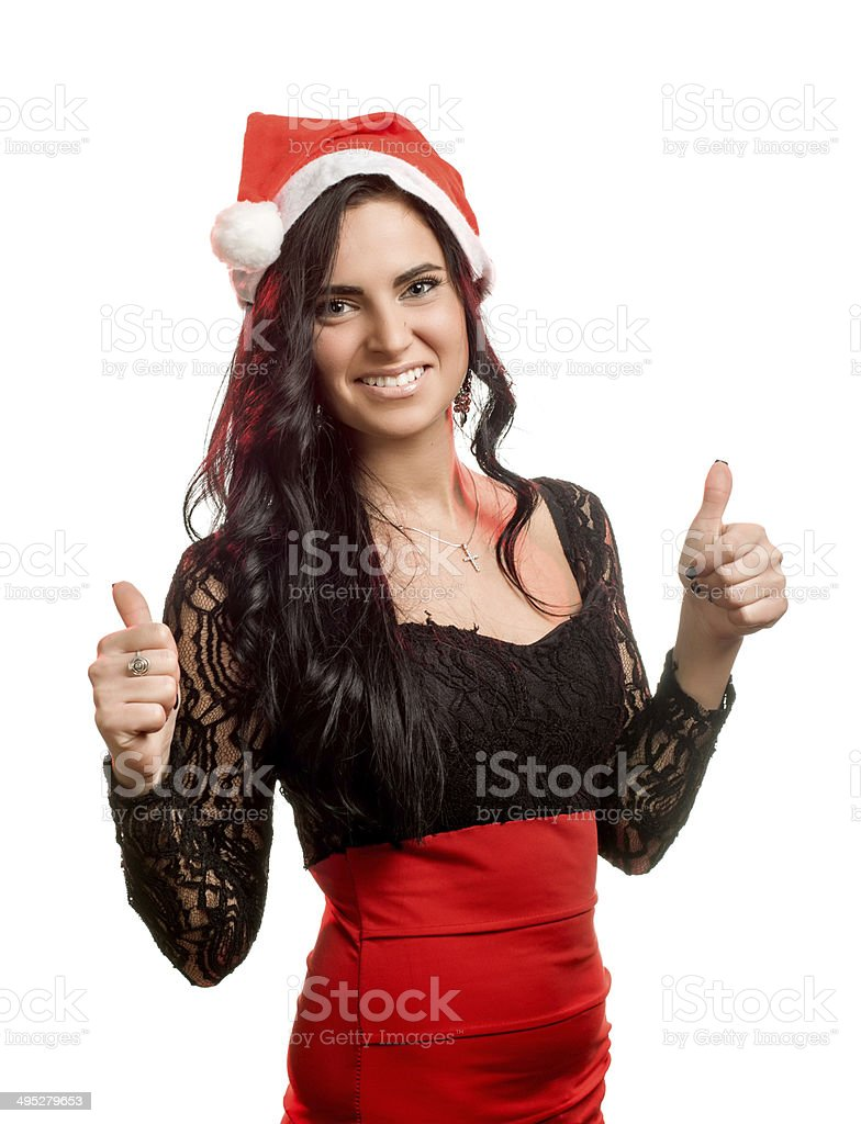 pretty woman in red santa claus hat stock photo