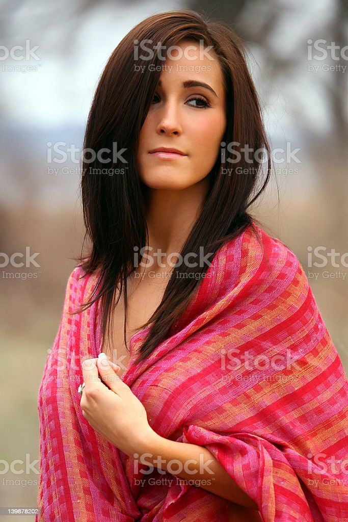 Pretty Woman in Red Shawl royalty-free stock photo