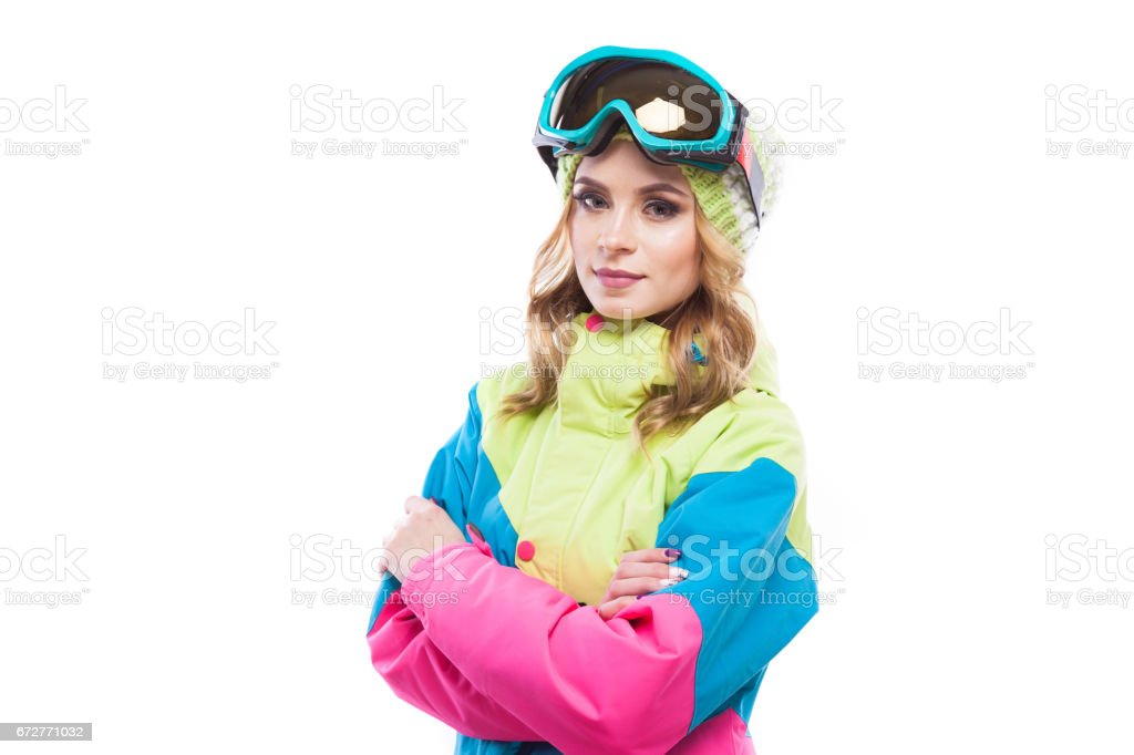 pretty woman in snowboard costume crossed hands isolated on white stock photo