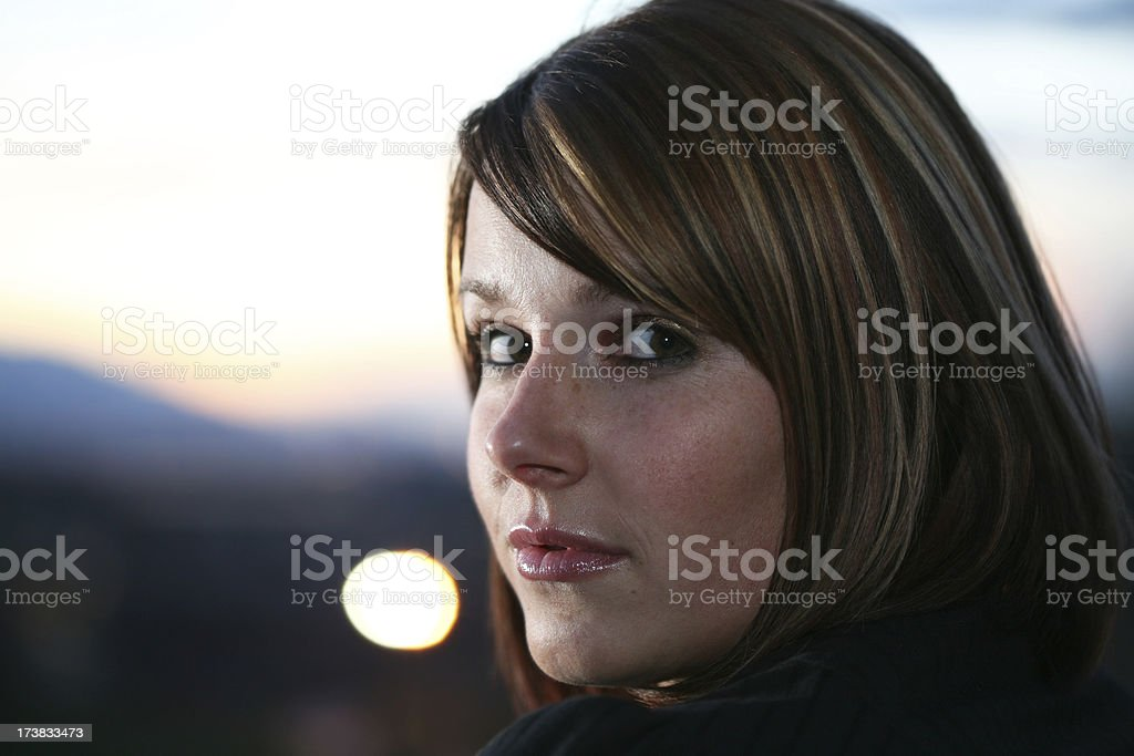Pretty Woman in the Night Sky royalty-free stock photo