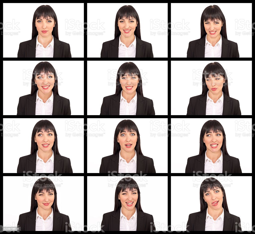 Pretty woman making twelve different facial expressions stock photo