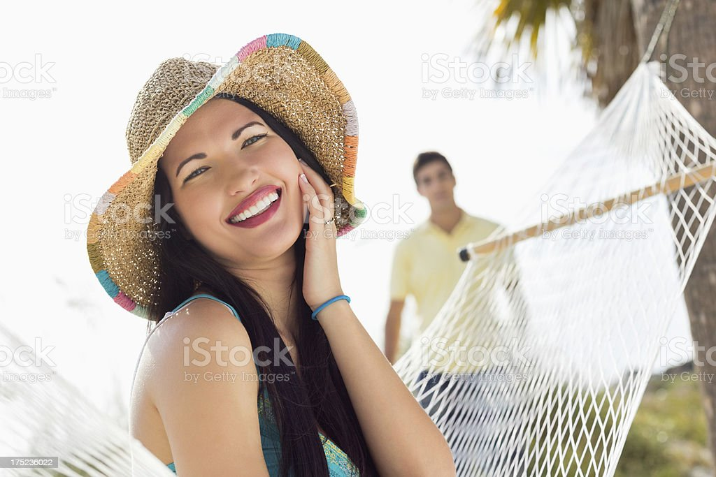 Pretty Woman On Summer Vacation With Man. royalty-free stock photo