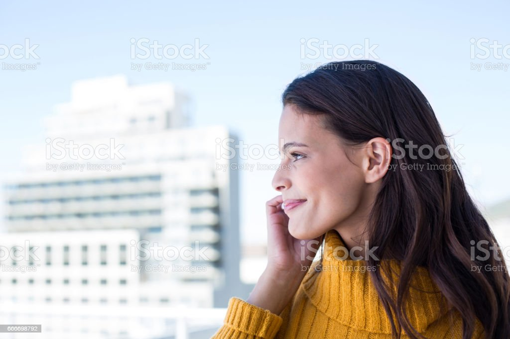 Pretty woman on the phone stock photo
