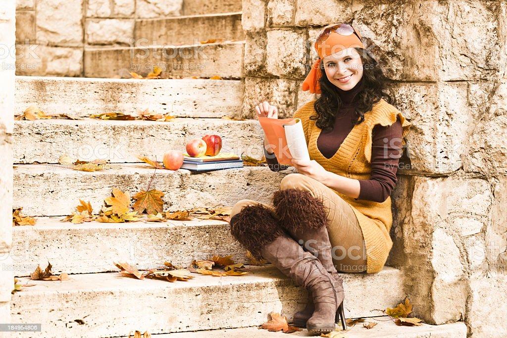 Pretty woman outdoors stock photo