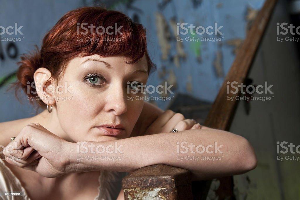 Pretty Woman Portrait in Trashy Building royalty-free stock photo