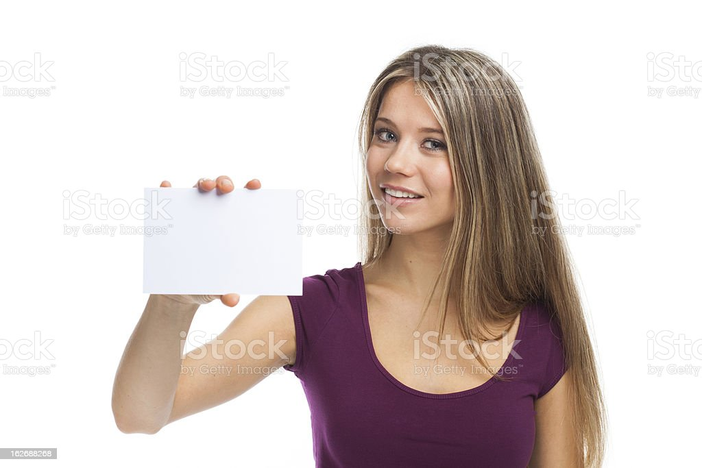 Pretty woman showing blank signboard royalty-free stock photo