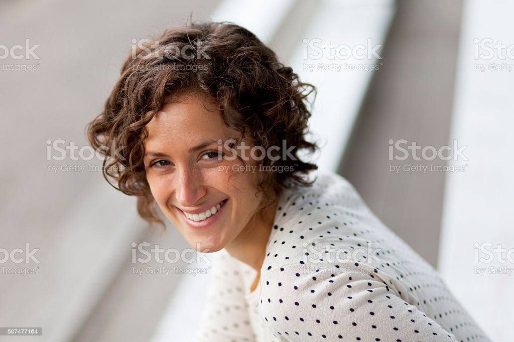 Pretty woman smiling At the camera stock photo